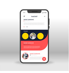 red and black live chat ui ux gui screen for vector image