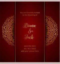 Red mandala wedding card template vector