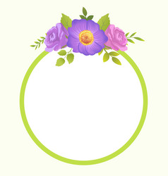 round border blooming springtime flowers vector image