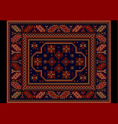 Rug ethnic ornament in burgundy and blue colors vector