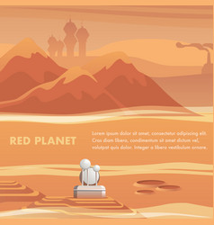 Satellite station surface red planet vector