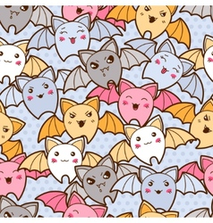 Seamless kawaii cartoon pattern with cute bats vector