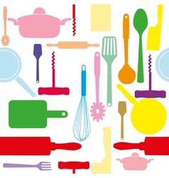 seamless pattern of kitchen tools vector image