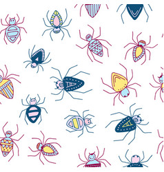 Seamless pattern with funny colored spiders vector