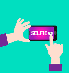 selfie on mobile camera vector image