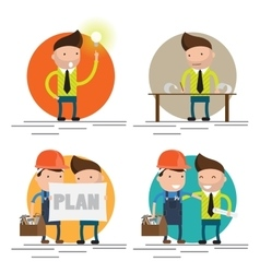 set characters on building worker vector image