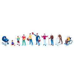 set isolated people in aging stages age growth vector image