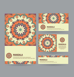 Set of cards with hand drawn mandala vector