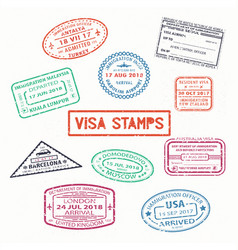set of isolated visa passport rubber stamps vector image