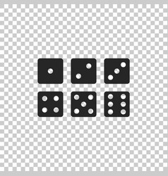 set of six dices icon on transparent background vector image