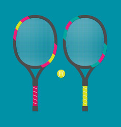 Set of tennis rackets and tennis ball vector