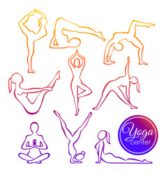 set of yoga poses in line vector image