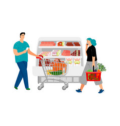shopping people man with shopping cart girl with vector image