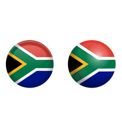 south africa flag under 3d dome button and on vector image