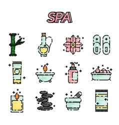 SPA flat icon set vector