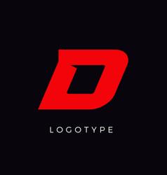 Speed letter d red race monogram logo italic vector