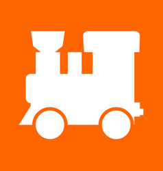 steam locomotive - train white icon vector image