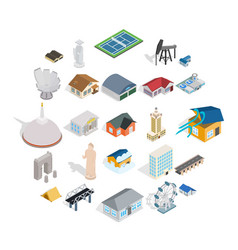 Storehouse icons set isometric style vector