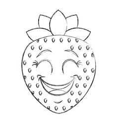 Strawberry fresh fruit kawaii character vector