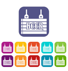 Street signboard of beer icons set vector