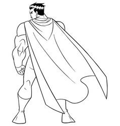 superhero battle mode back line art vector image