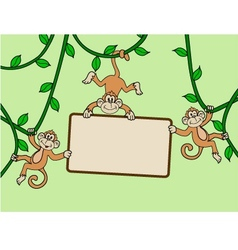 Three monkey with blank sign vector image vector image