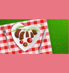 top view plate in shape heart with fried meat vector image