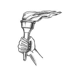 Torch hand holding burning stick retro vector
