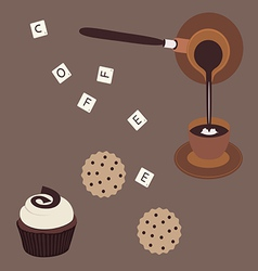 Turkish coffee and cake vector