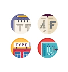 Type font pixel perfect icons set vector