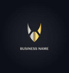 v initial gold logo vector image