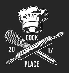 Vintage monochrome cooking label vector