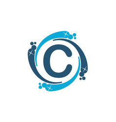 Water clean service abbreviation letter c vector