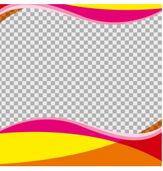 Yellow and pink waves on transparent background vector