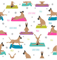 Yoga dogs poses and exercises great dane seamless vector