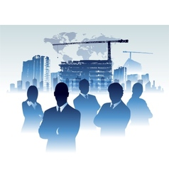 Businessman team in building office construction vector image