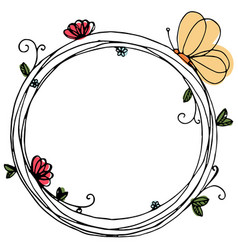 design of wreath with flowers and butterfly vector image vector image