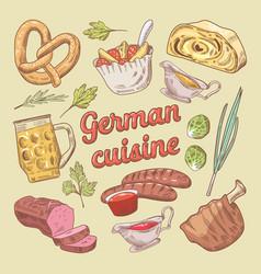 hand drawn german cuisine food doodle vector image vector image