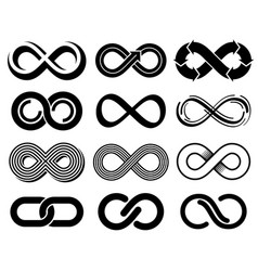 Infinity symbols mobius loop icons vector