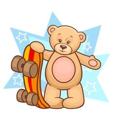 teddy bear with skateboard vector image