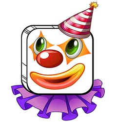 A square-faced clown with a party hat vector image vector image