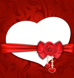 Card heart shaped with silk bow and red rose for vector image vector image