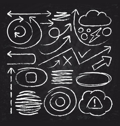 doodle white arrows and chalk design stroke vector image