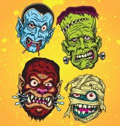 Halloween Monster Head Set vector image