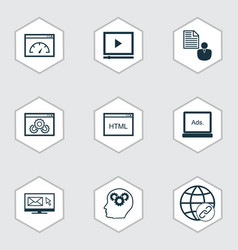 set of 9 seo icons includes report loading speed vector image vector image