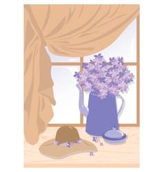 Watercolor of lilac vector