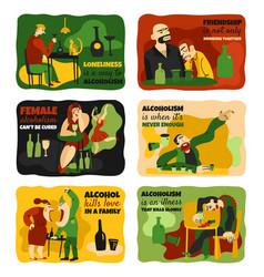 alcohol addiction cards set vector image