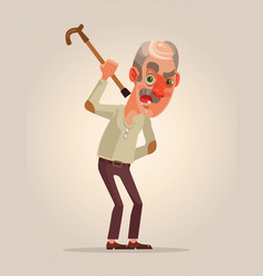 angry old man character vector image