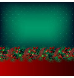 bright green christmas background decorated by gar vector image
