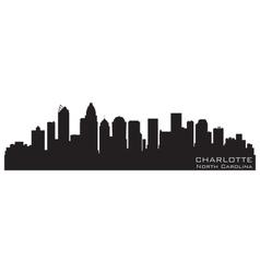 charlotte north carolina skyline detailed silhouet vector image vector image